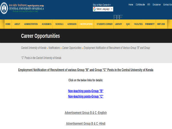 Central University of Kerala Recruitment For 67 Group B AND C Posts. Apply Online Before June 30
