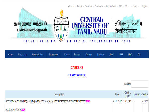 CUTN Recruitment 2019 For 113 Professors, Associate And Assistant Professors; Apply Before June 21