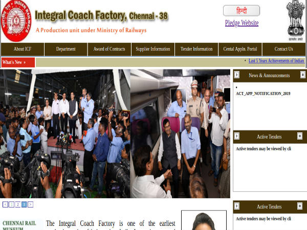 Integral Coach Factory Recruitment 2019: Applications Invited For 992 Vacancies