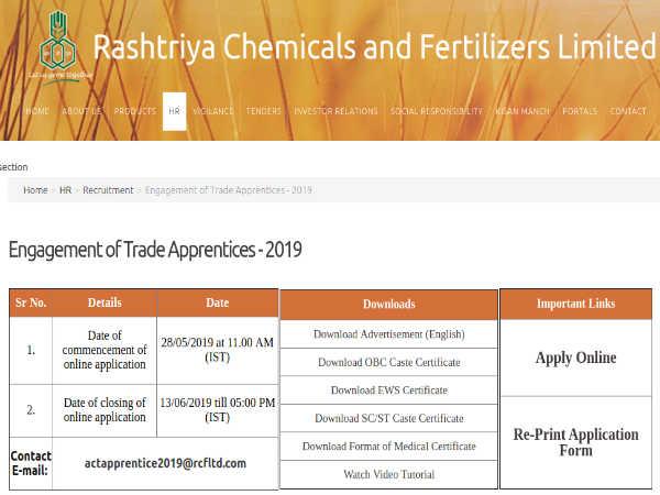 RCFL Recruitment 2019: Trade Apprentices