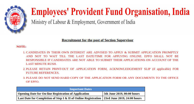 EPFO Recruitment 2019 For 1991 Section Supervisors Post. Apply Online Before June 23