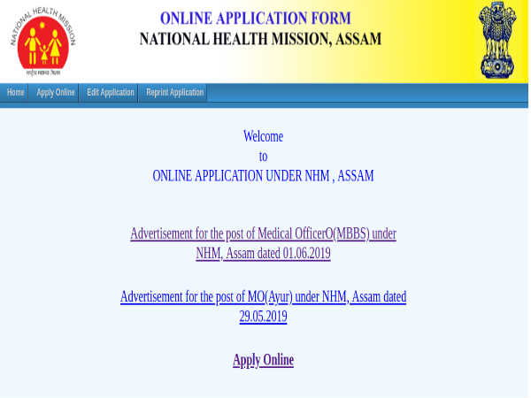 NHM Assam Recruitment 2019: Med Officers