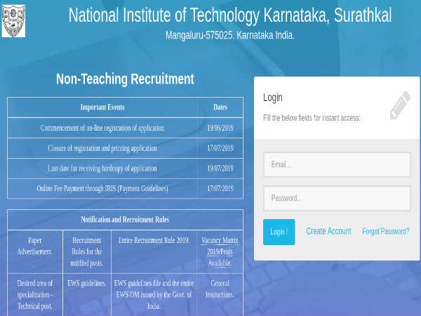 NIT Karnataka Recruitment 2019:137 Posts