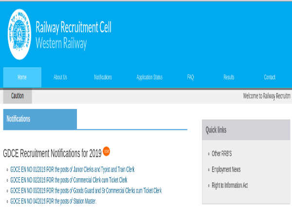 RRC Western Railway Recruitment 2019