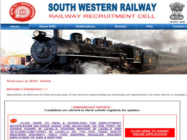 Southern Western Railway Recruitment: Apply Online For 179 Clerks, Station Master And Goods Guard