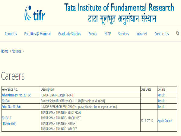 TIFR Recruitment 2019: Tradesman Trainee