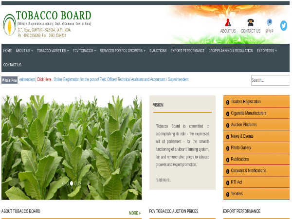 Tobacco Board Recruitment 2019 For 41 Field Officers And Accountants; Earn Up To Rs. 35,400