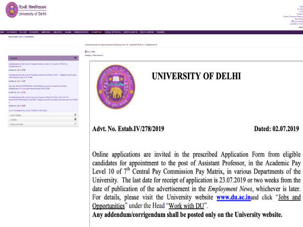 University of Delhi Recruitment 2019