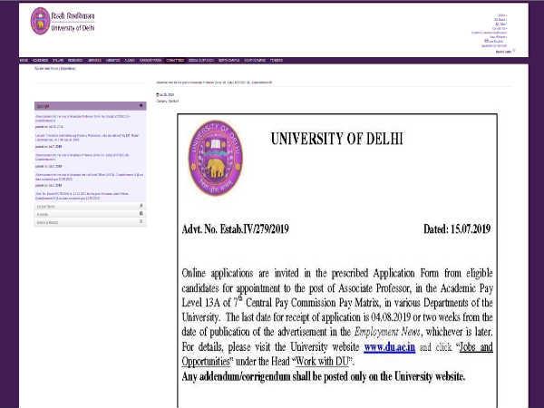 Delhi University Recruitment 2019: Apply Online For 428 Associate Professors Post Before August 04