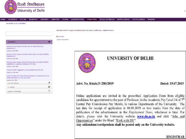 Delhi University Recruitment 2019: Apply Online For 166 Professors Post Before August 08