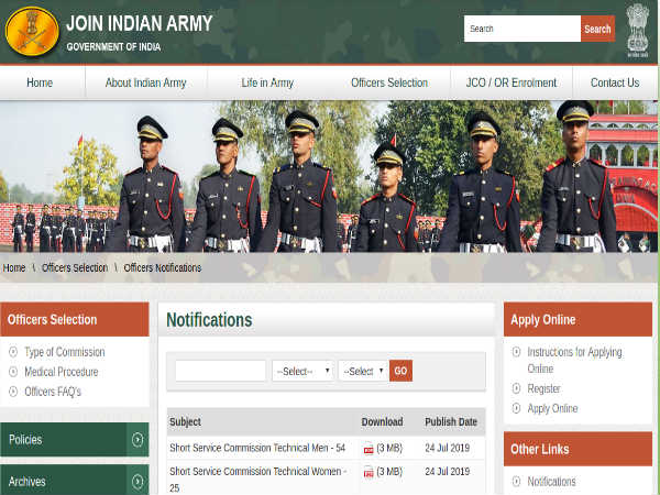 Indian Army Recruitment 2019: SSC (Tech)