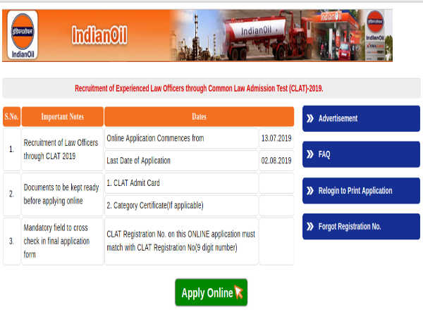 IOCL Recruitment 2019 For Experienced Law Officers Through CLAT-2019. Apply Online Before August 02