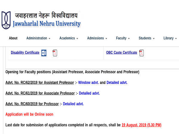 JNU Recruitment 2019 Apply Online For 267 Professors And Associate