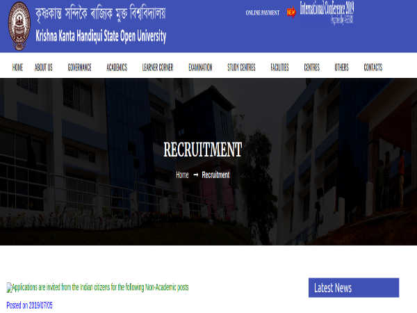 KKHSOU Recruitment 2019: 10 Vacancies