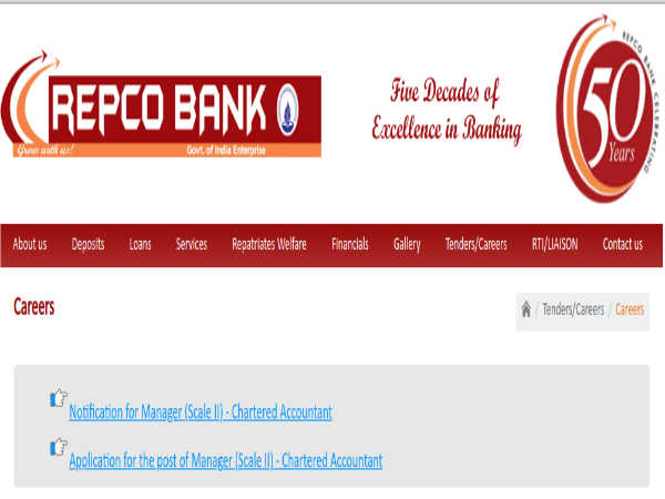 REPCO Bank Recruitment: Managers (CA)