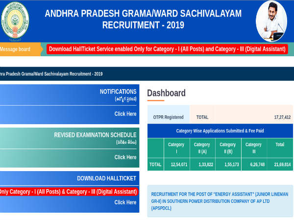 AP Grama Sachivalayam Admit Card 2019