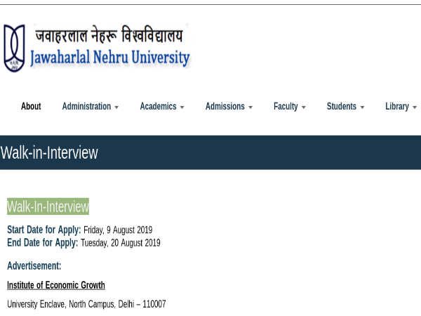 JNU Recruitment 2019 For 50 Supervisors And Field Investigators Through 'Walk-In' Selection