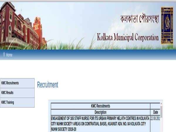 KMC Kolkata Recruitment 2019:Staff Nurse