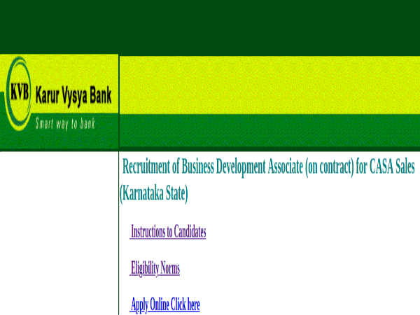 Karur Vysya Bank Recruitment: BDA Posts