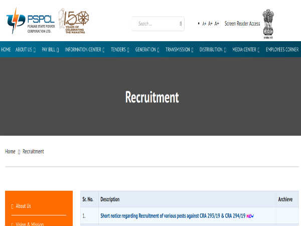 PSPCL Recruitment 2019: 1,798 Vacancies