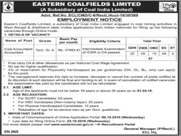 Coal India Limited: 57 Accountants