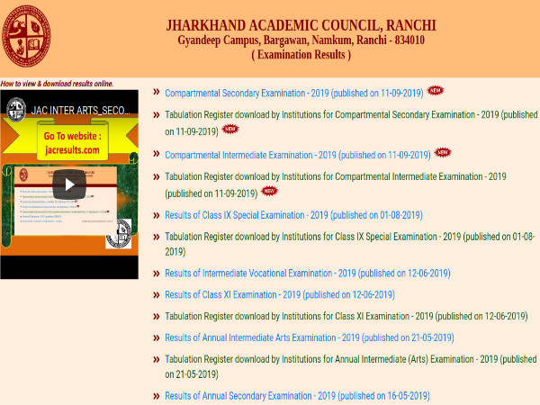 JAC Compartment Result 2019 Announced