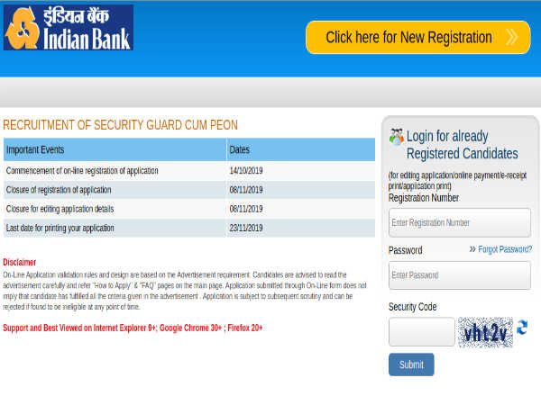 Indian Bank Recruitment: Apply Online For 115 Security Guard-Cum-Peon Posts Before November 8