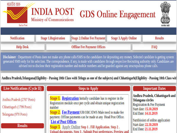 India Post Recruitment: 5,476 GDS Posts