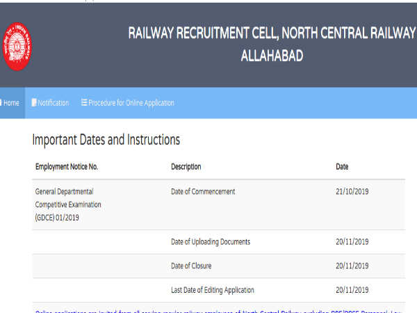 North Central Railway: Apply Online For 529 Goods Guards, Asst. Loco Pilots, Clerks And Other Posts