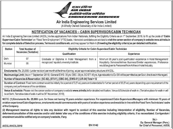 Air India Recruitment For Cabin Supervisor/Cabin Technician Posts Through 'Walk-In' Selection