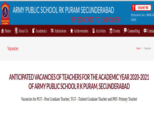 Army Public School Recruitment: Apply Offline For 46 PGT, TGT And PRT Posts In Multiple Subjects
