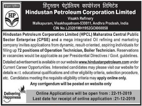 HPCL Recruitment: Technician Vacancies