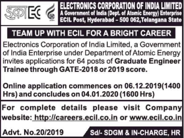 ECIL Recruitment 2019: Graduate Engineer