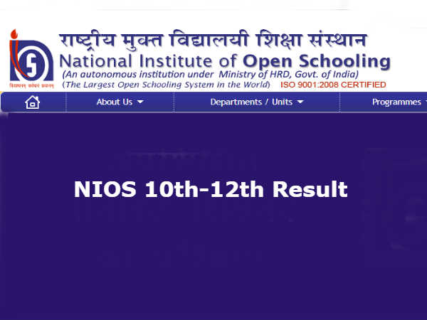NIOS Result For Class 10 And Class 12 October 2019 Exam