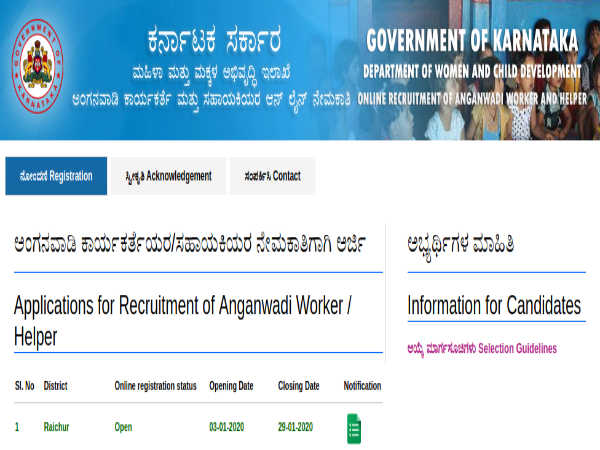 WCD Raichur Recruitment: Anganwadi Jobs