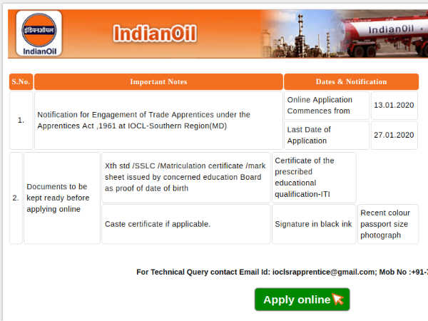 IOCL Recruitment 2020: Apply Online For 248 Trade Apprentices Post Before January 27