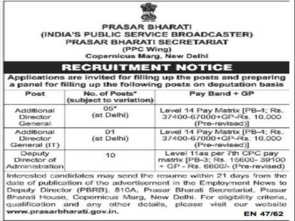 Prasar Bharati Recruitment: DDA & ADG