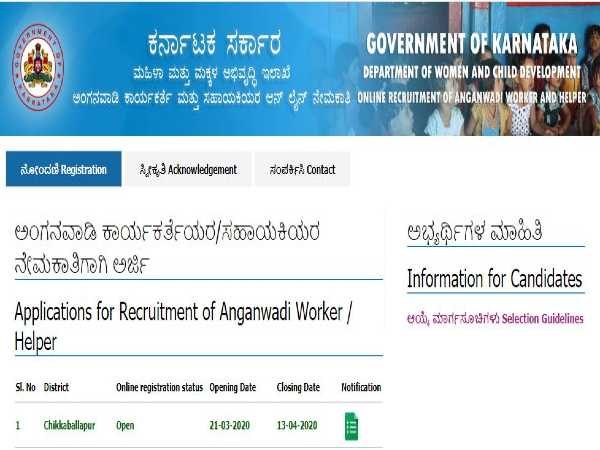 WCD Chikkaballapur Recruitment: WCD Jobs