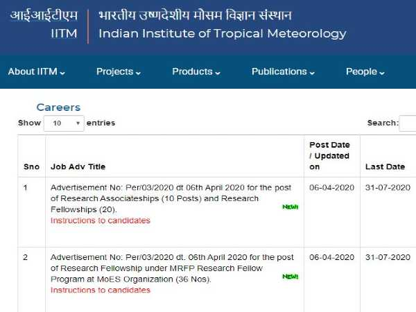 IITM Recruitment 2020: 66 JRF/SRF, RA/RF