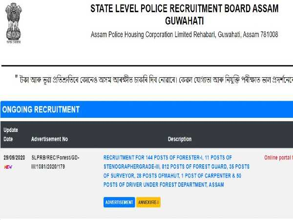 Assam Police Recruitment 2020 For 1,081 Foresters And Forest Guards. Apply Online Before June 25