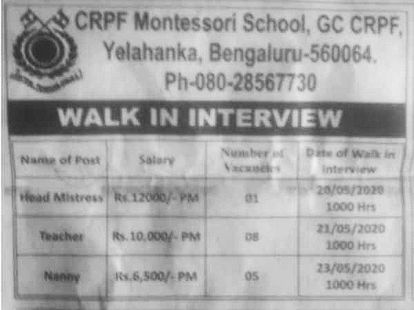 CRPF Montessori Recruitment 2020:Faculty