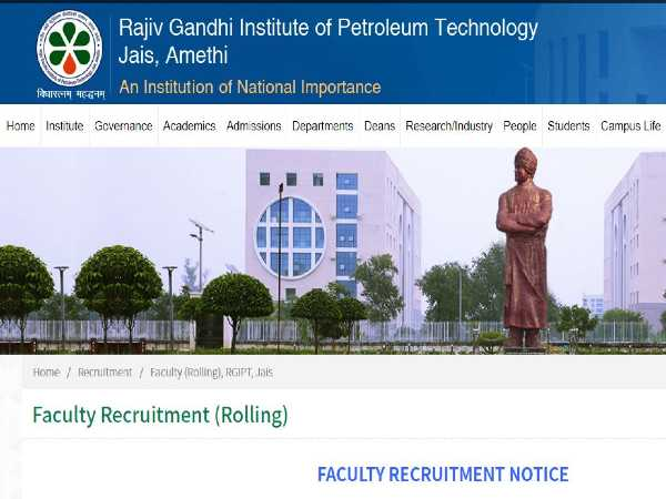 RGIPT Recruitment 2020: Faculty Posts