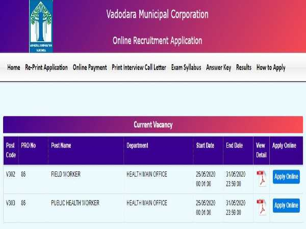 Vadodara Municipal Corporation Jobs 2020 For 577 Field Workers and PHWS, Apply Online Before May 31