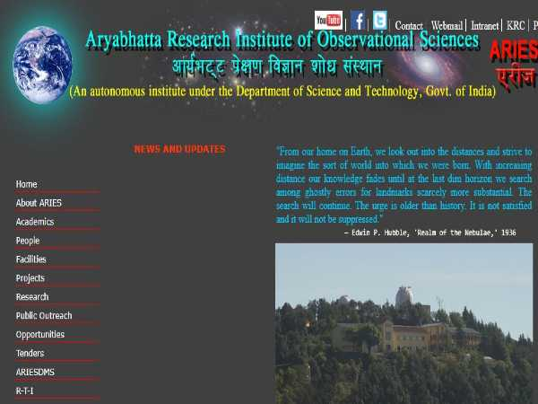 ARIES India Recruitment 2020 For Scientists, Assistants And Consultants. Apply Online Before June 15