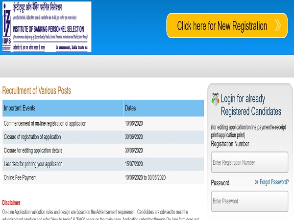 ibps online application form registration 2013 last date