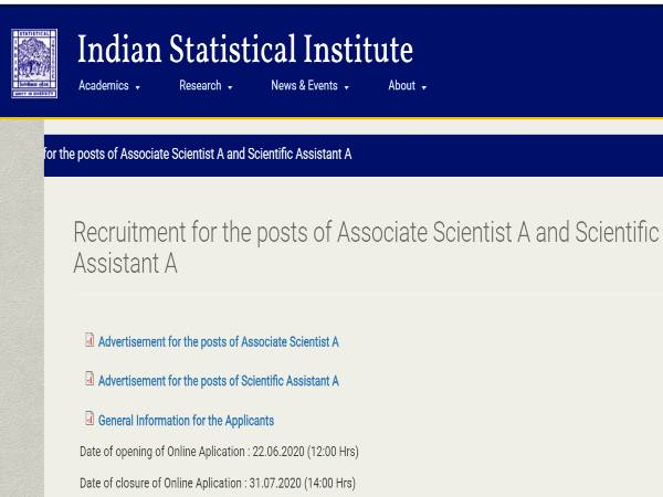 ISI Recruitment 2020: Scientists/Assts
