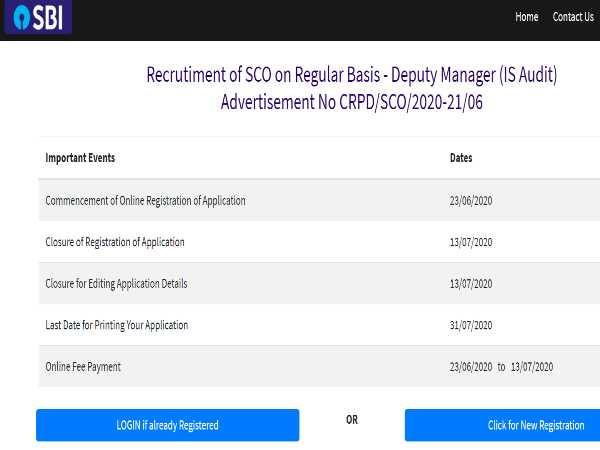 SBI Deputy Manager Recruitment 2020