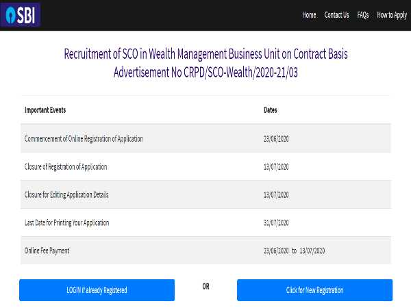 SBI SO Recruitment 2020: 64 Vacancies