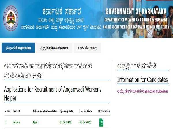 WCD Hassan Recruitment 2020: Anganwadi