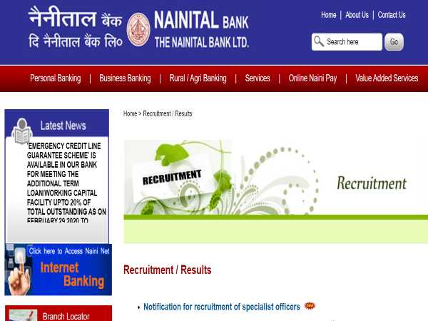 Nainital Bank Recruitment 2020: SO Posts
